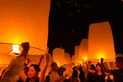 The sky lantern festival royalty free stock photo