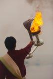 Fire Lantern Hindu Priest Ganges River Prayer Stock Images