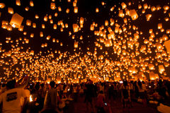 Fire Lanterns bonloons festival chiangmai Thailand Royalty Free Stock Photo