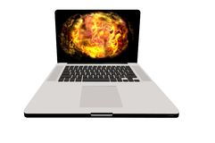 Fire laptop. Laptop 3d render illustration fire concept image Royalty Free Stock Image