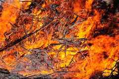 Fire from large heap of burning wood Stock Images