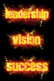 Fire Text Leadership Vision Success. Fire leadership vision success text badge with burning flames Royalty Free Stock Images