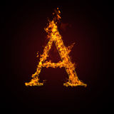 Fire letter. On dark background Stock Photo