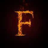 Fire letter. On dark background Stock Image