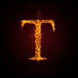 Fire letter. On dark background Royalty Free Stock Photography