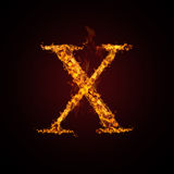 Fire letter. On dark background Royalty Free Stock Images