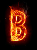 Fire letter B Stock Photo