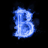 Fire letter B of burning flame light. Fire letter B of burning blue flame. Flaming burn font or bonfire alphabet text with sizzling smoke and fiery or blazing Royalty Free Stock Photo