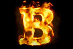 Fire letter B of burning flame light, 3D rendering. Isolated on black background Stock Images