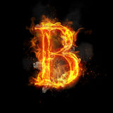 Fire letter B of burning flame light. Fire letter B of burning flame. Flaming burn font or bonfire alphabet text with sizzling smoke and fiery or blazing shining Royalty Free Stock Images