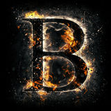 Fire letter B. For your design Royalty Free Stock Photo