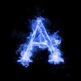 Fire letter A of burning flame light. Fire letter A of burning blue flame. Flaming burn font or bonfire alphabet text with sizzling smoke and fiery or blazing Royalty Free Stock Photo