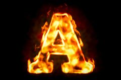 Fire letter A of burning flame light, 3D rendering. On black background Stock Photography