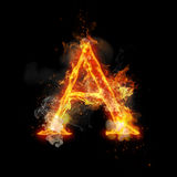 Fire letter A of burning flame light. Fire letter A of burning flame. Flaming burn font or bonfire alphabet text with sizzling smoke and fiery or blazing shining Royalty Free Stock Images