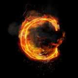 Fire letter C of burning flame light. Fire letter C of burning flame. Flaming burn font or bonfire alphabet text with sizzling smoke and fiery or blazing shining Royalty Free Stock Photo
