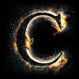 Fire letter C Royalty Free Stock Images