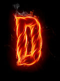 Fire letter D Royalty Free Stock Photos