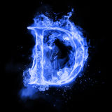 Fire letter D of burning flame light. Fire letter D of burning blue flame. Flaming burn font or bonfire alphabet text with sizzling smoke and fiery or blazing Stock Image