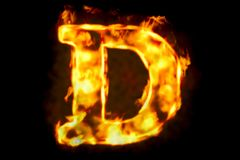 Fire letter D of burning flame light, 3D rendering. Isolated on black background Royalty Free Stock Photography