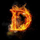Fire letter D of burning flame light. Fire letter D of burning flame. Flaming burn font or bonfire alphabet text with sizzling smoke and fiery or blazing shining Stock Photo