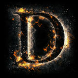 Fire letter D. For your design Stock Photography
