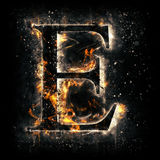 Fire letter E Stock Photo