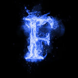 Fire letter F of burning flame light. Fire letter F of burning blue flame. Flaming burn font or bonfire alphabet text with sizzling smoke and fiery or blazing Stock Images