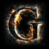 Fire letter G. For your design Stock Photos