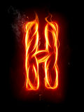 Fire letter H. A series of fiery letters and numbers Stock Photo