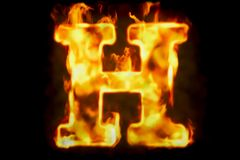 Fire letter H of burning flame light, 3D rendering. Isolated on black background Royalty Free Stock Photos