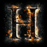 Fire letter H Royalty Free Stock Image