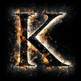 Fire letter K Royalty Free Stock Photo