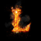 Fire letter L of burning flame light. Fire letter L of burning flame. Flaming burn font or bonfire alphabet text with sizzling smoke and fiery or blazing shining Stock Photos