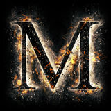 Fire letter M. For your design Stock Images