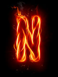 Fire letter N Stock Photography