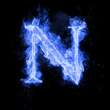 Fire letter N of burning flame light. Fire letter N of burning blue flame. Flaming burn font or bonfire alphabet text with sizzling smoke and fiery or blazing Stock Image