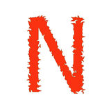 Fire letter N isolated on white background with clipping path.  Vector Illustration