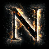 Fire letter N Royalty Free Stock Images