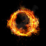 Fire letter O of burning flame light. Fire letter O of burning flame. Flaming burn font or bonfire alphabet text with sizzling smoke and fiery or blazing shining Royalty Free Stock Images