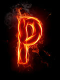 Fire letter P. A series of fiery letters and numbers Stock Image