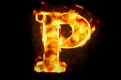 Fire letter P of burning flame light, 3D rendering. On black background Stock Photo