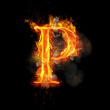 Fire letter P of burning flame light. Fire letter P of burning flame. Flaming burn font or bonfire alphabet text with sizzling smoke and fiery or blazing shining Stock Image