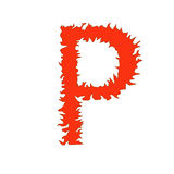 Fire letter P isolated on white background with clipping path Stock Photo