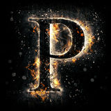 Fire letter P. For your design Royalty Free Stock Photos