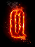 Fire letter Q Stock Photos