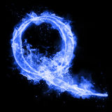 Fire letter Q of burning flame light. Fire letter Q of burning blue flame. Flaming burn font or bonfire alphabet text with sizzling smoke and fiery or blazing Stock Image