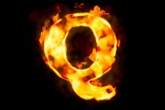 Fire letter Q of burning flame light, 3D rendering. Isolated on black background Stock Images