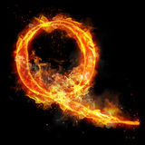 Fire letter Q of burning flame light. Fire letter Q of burning flame. Flaming burn font or bonfire alphabet text with sizzling smoke and fiery or blazing shining Stock Photography
