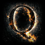 Fire letter Q Royalty Free Stock Photo