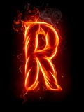 Fire letter R Royalty Free Stock Photos
